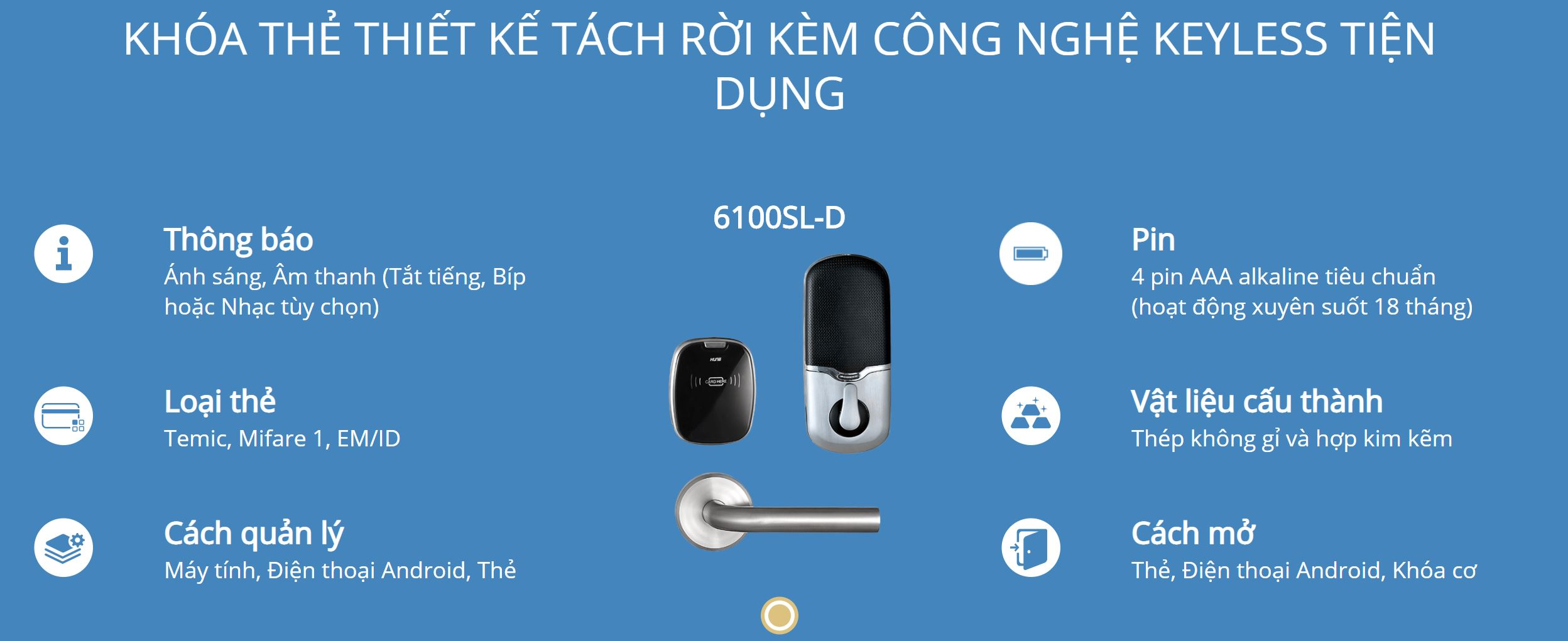 Thông tin kỹ thuật khóa thẻ Hune 6100-D