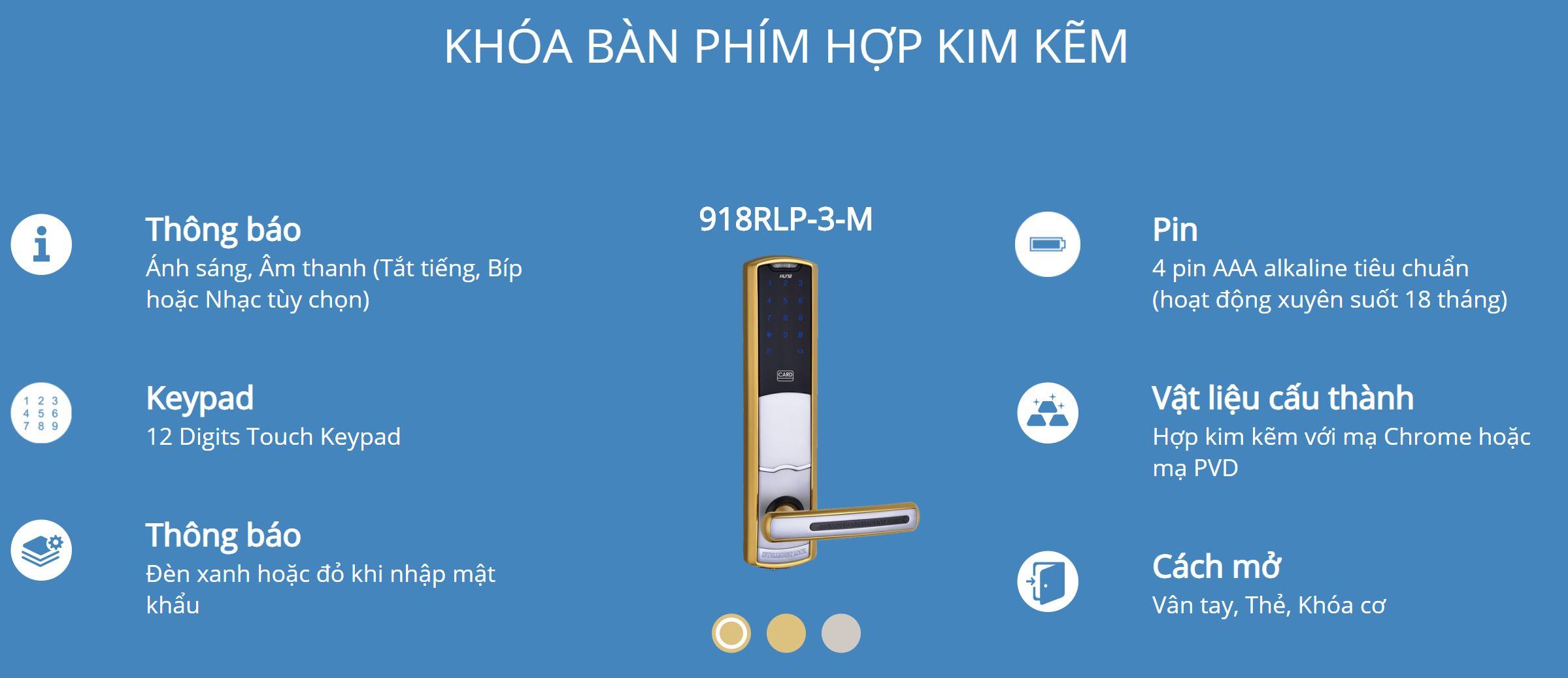 Thông tin kỹ thuật khóa Bàn Phím Thông Minh Hune 918-62-M