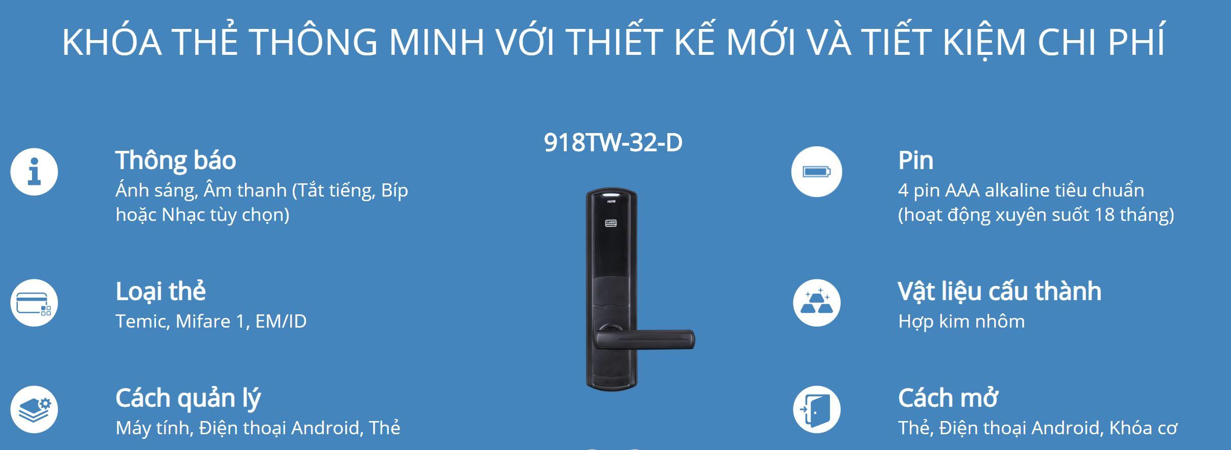 Thông tin kỹ thuật khóa thẻ Hune 918-32-D