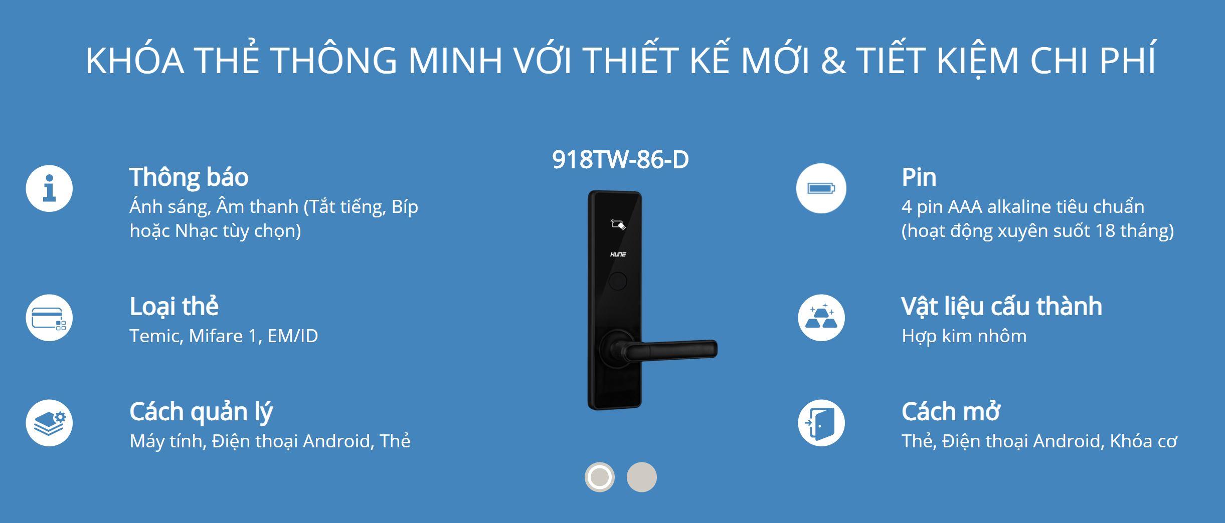 Thông tin kỹ thuật khóa thẻ Hune 918-86-D