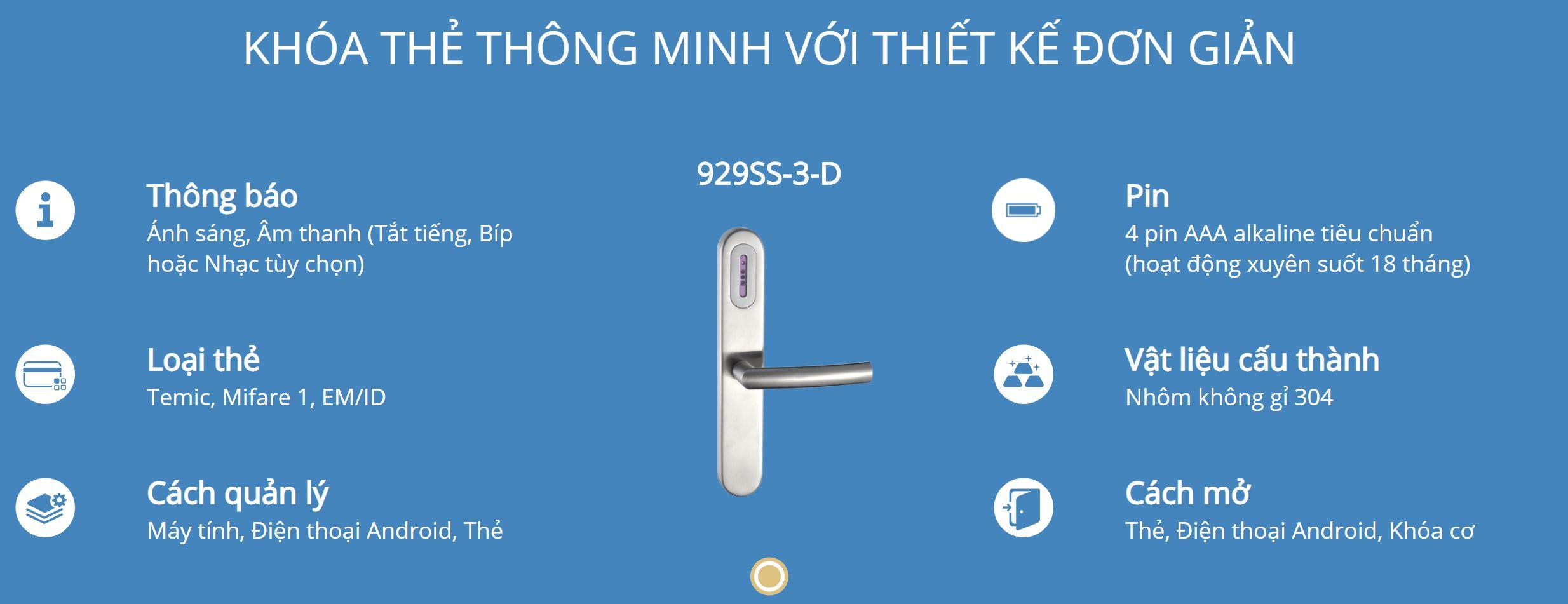 Thông tin kỹ thuật khóa thẻ Hune 929-3-D