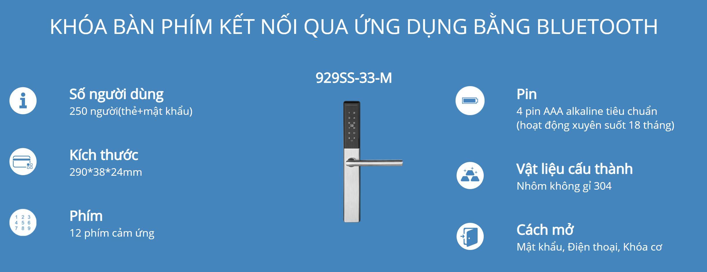 Thông tin kỹ thuật khóa Bàn Phím Thông Minh Hune 929-33-M