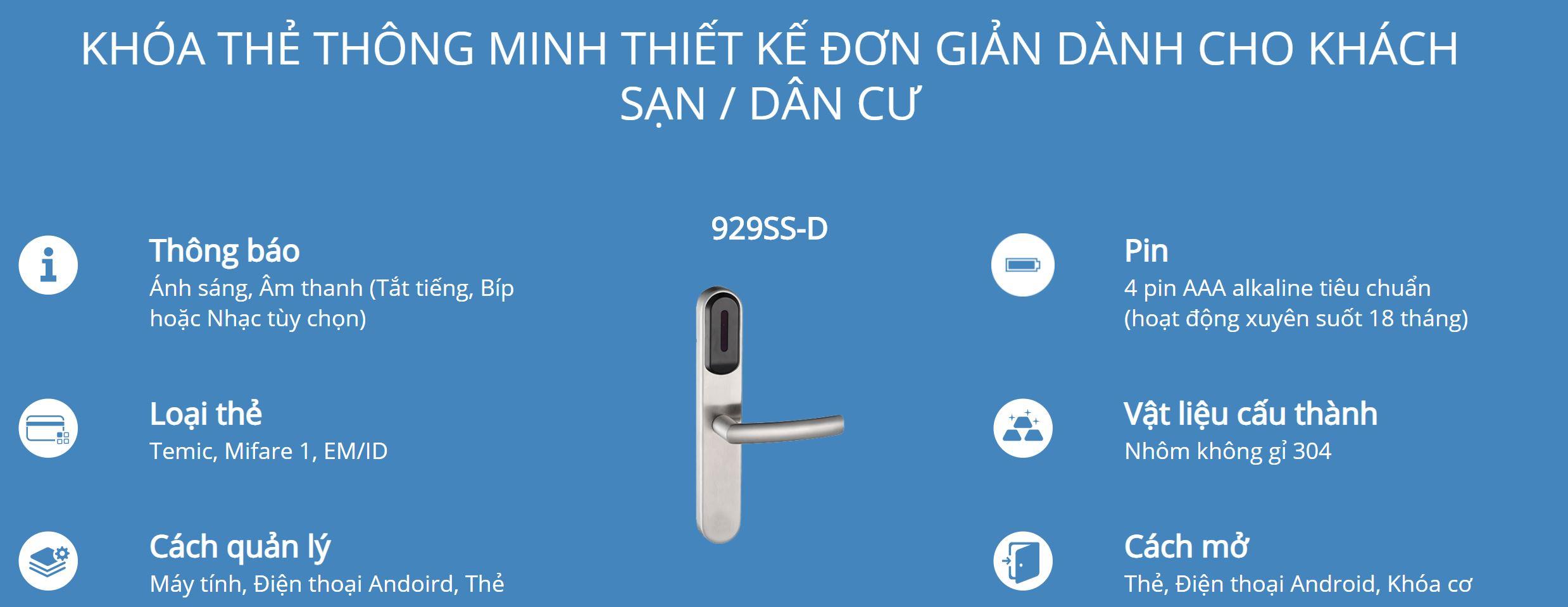 Thông tin kỹ thuật khóa thẻ Hune 929-D
