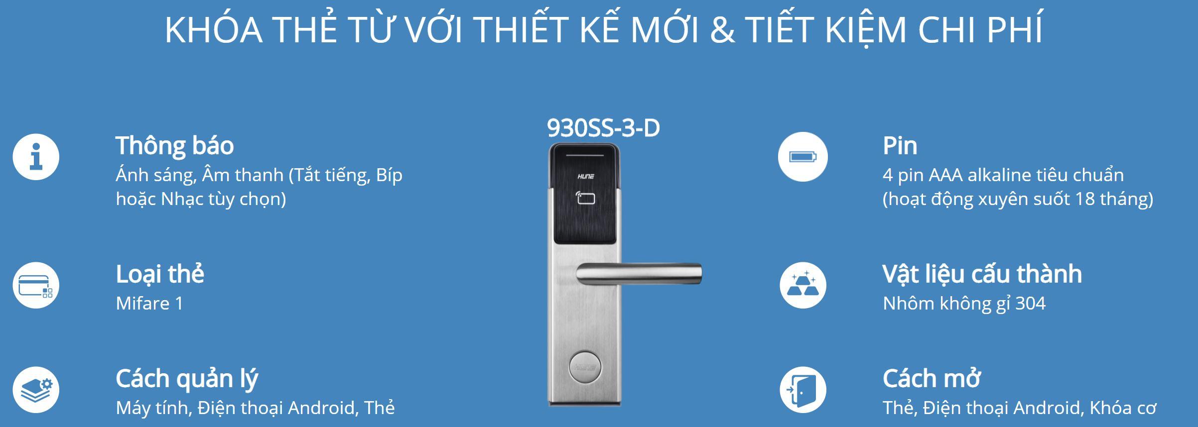 Thông tin kỹ thuật khóa thẻ Hune 930-3-D (II)