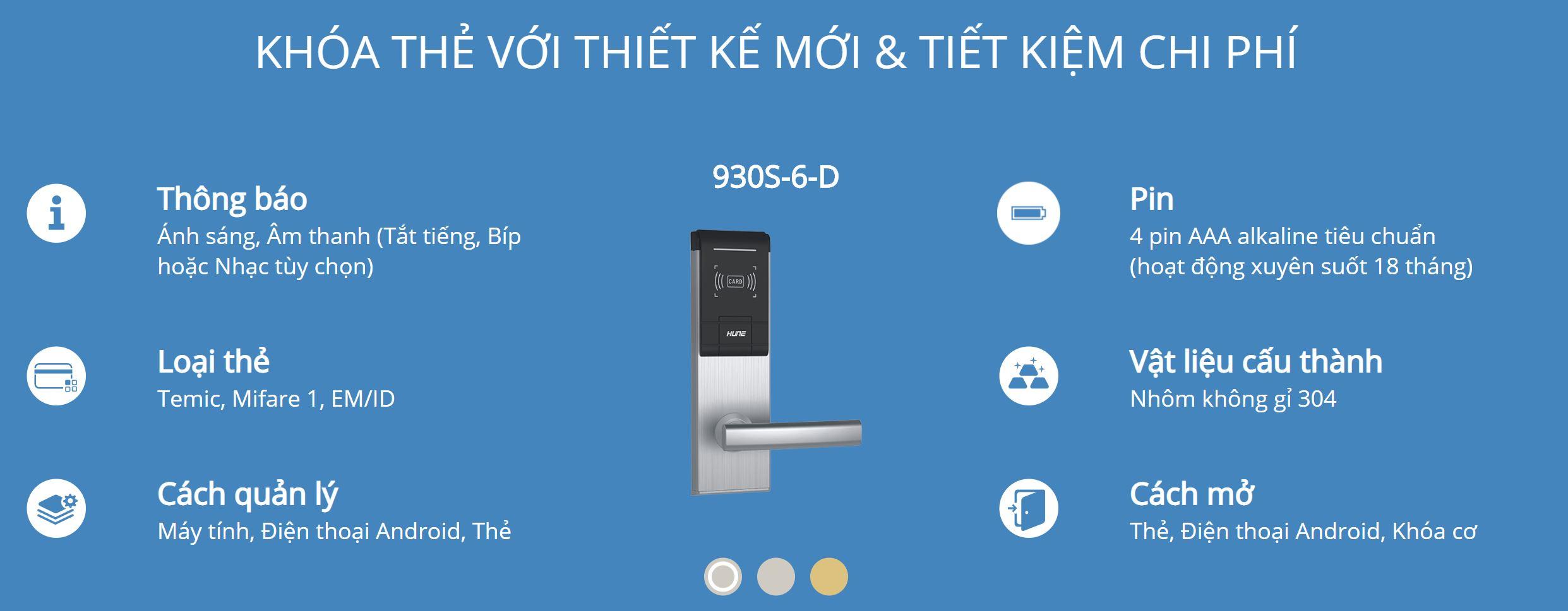 Thông tin kỹ thuật khóa thẻ Hune 930-5-D