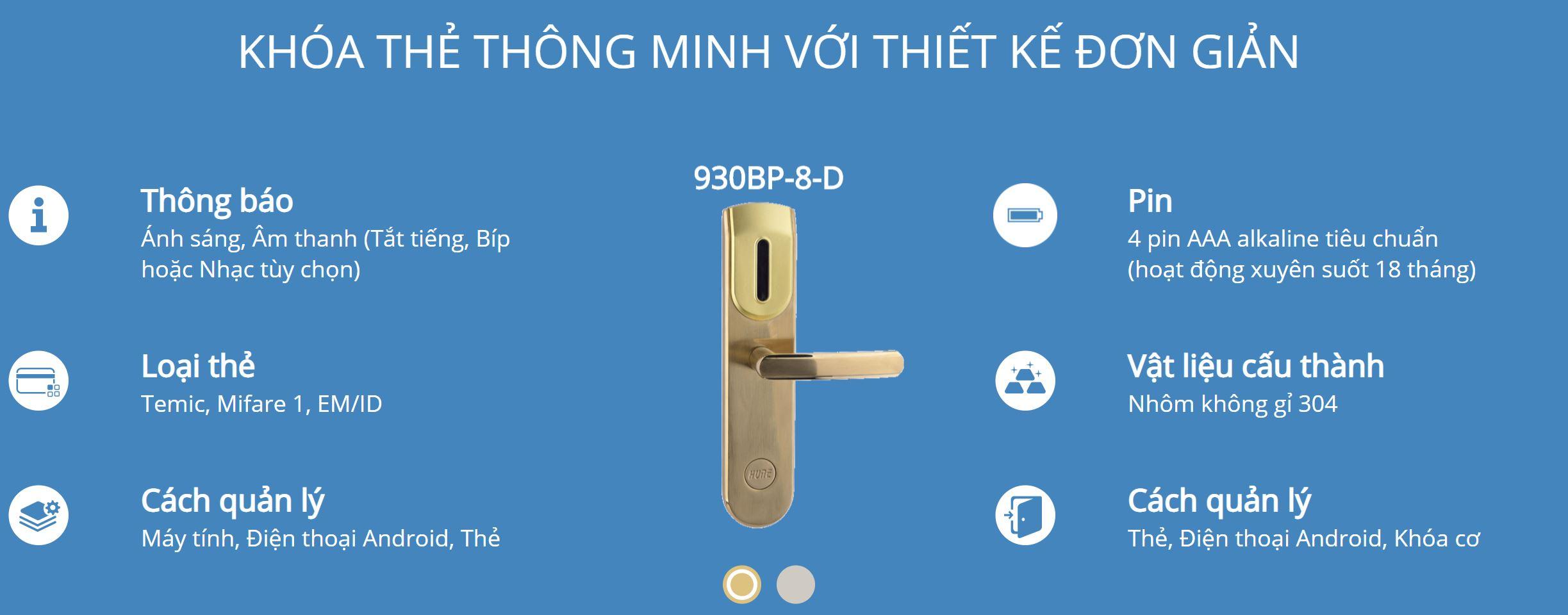 Thông tin kỹ thuật khóa thẻ Hune 930-8-D